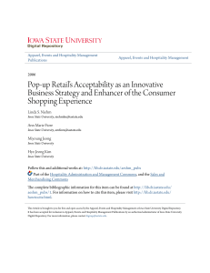 Pop-up Retail`s Acceptability as an Innovative Business Strategy