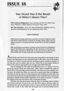 Was World War II the Result of Hitler`s Master Plan?