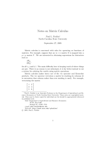 Notes on Matrix Calculus