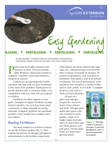 Easy Gardening - Extension Educationin Palo Pinto County