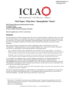 "NGO Paper: What Does ""Islamophobia"" Mean?"