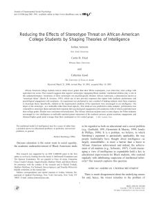 Reducing the Effects of Stereotype Threat on African American