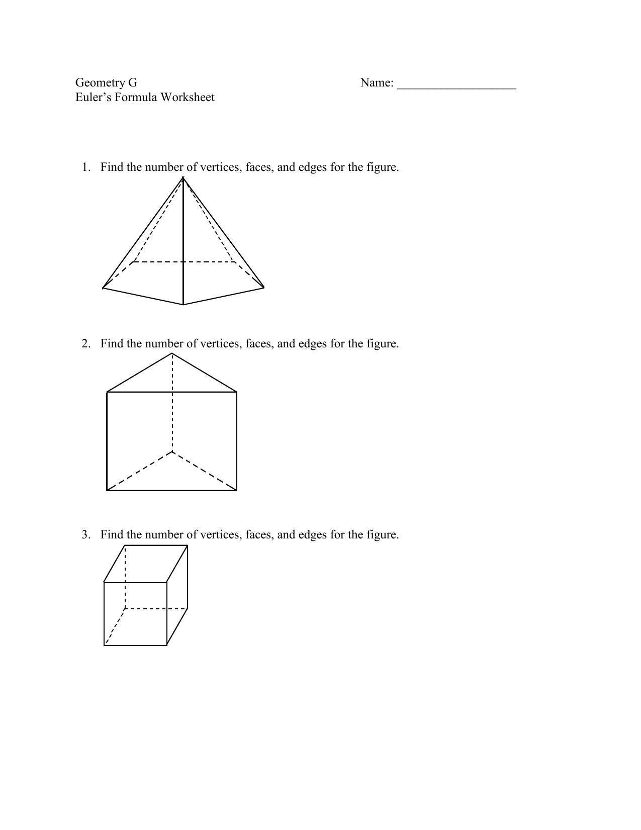 Eulers Formula Worksheet 1 Find The