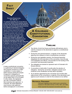 A COLORADO CONSTITUTIONAL CONVENTION FACT SHEET