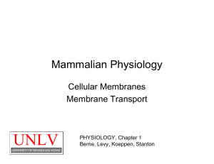 Cell Membranes - University of Nevada, Las Vegas