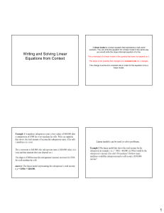 1 Writing and Solving Linear Equations from Context