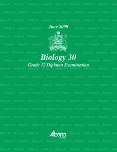 Biology 30 June 2000 Grade 12 Diploma Examinations