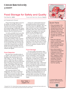 Food Storage for Safety and Quality