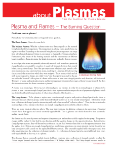 Plasma and Flames - Coalition for Plasma Science