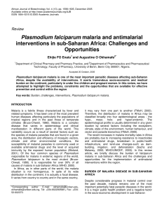 Plasmodium falciparum malaria and antimalarial