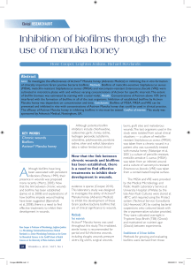 Inhibition of biofilms through the use of Manuka honey