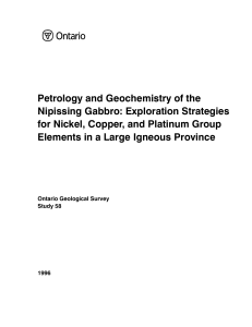 Petrology and Geochemistry of the Nipissing Gabbro