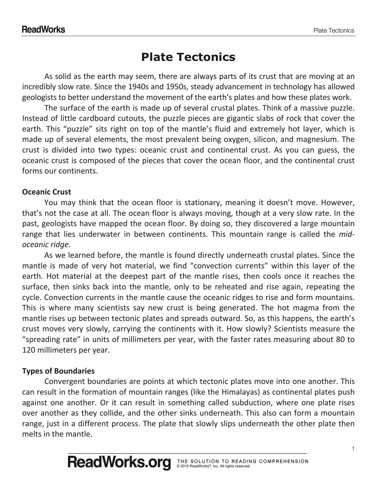 - Plate Tectonics Reading Passage