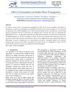 Effect of Ionosphere on Radio Wave Propagation