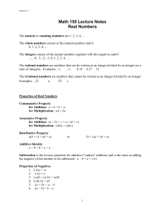 Math 150 Lecture Notes Real Numbers