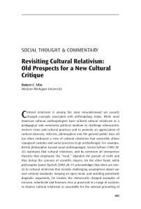 Revisiting Cultural Relativism: Old Prospects for a