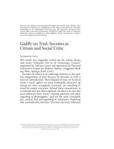 Gadfly on Trial: Socrates as Citizen and Social Critic