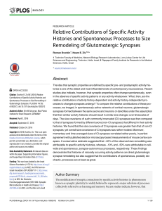 Relative Contributions of Specific Activity Histories and