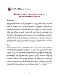 Developing a Cost Accounting System for First Government Contract