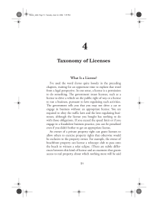 Taxonomy of Licenses