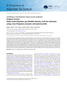 Deep-scattering layer, gas-bladder density, and size estimates using