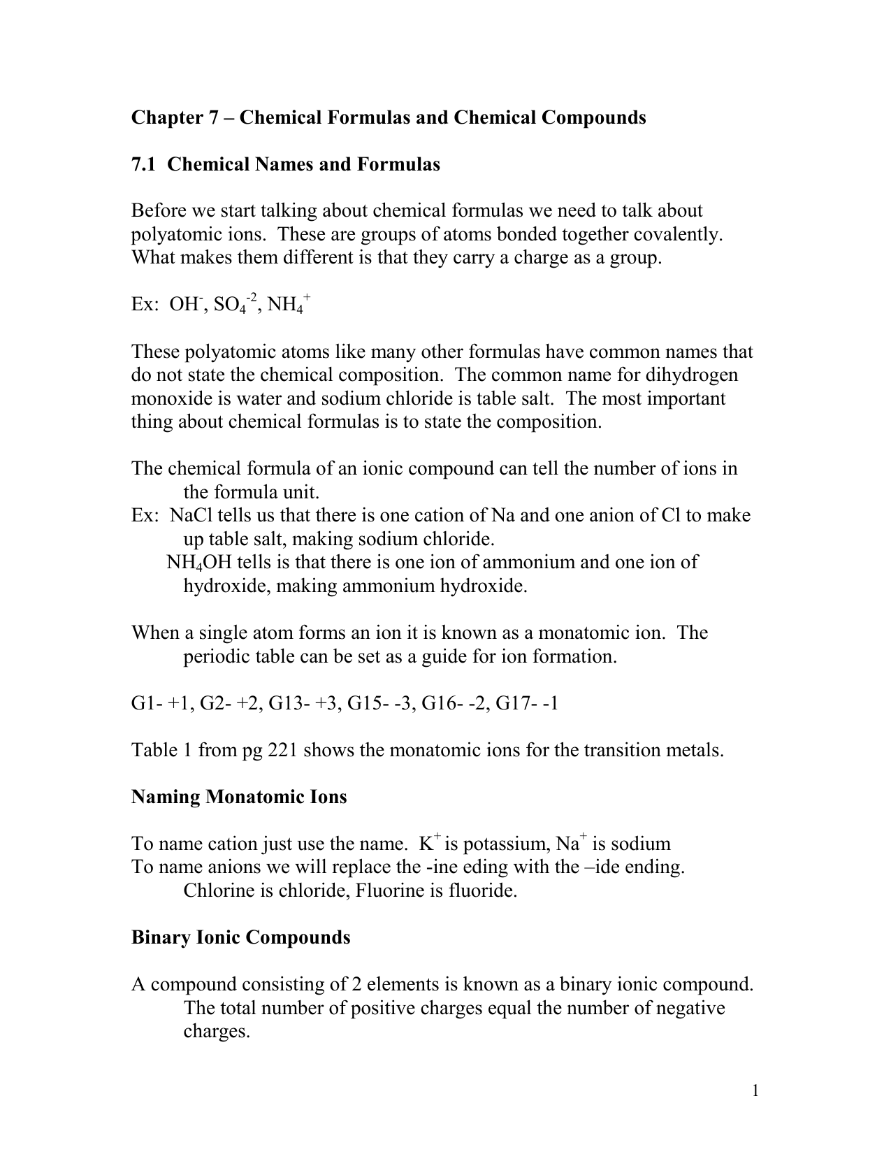 Chapter 7 Chemical Formulas And Chemical