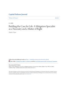 Building the Case for Life: A Mitigation Specialist as a Necessity and