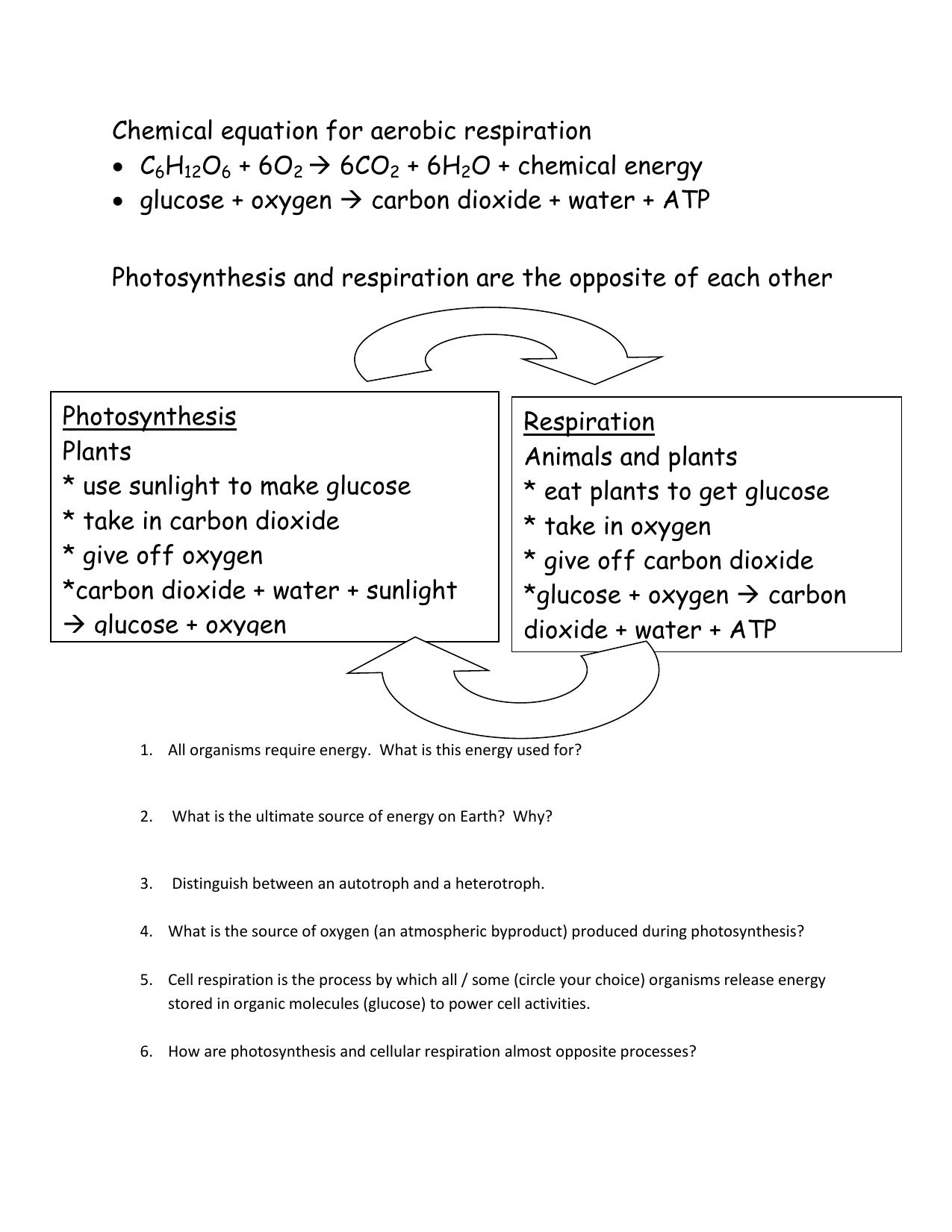 Chemical Equation For Aerobic Respiration C6h12o6 6o2