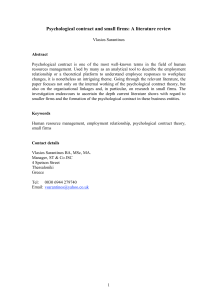 Psychological contract and small firms: A literature review
