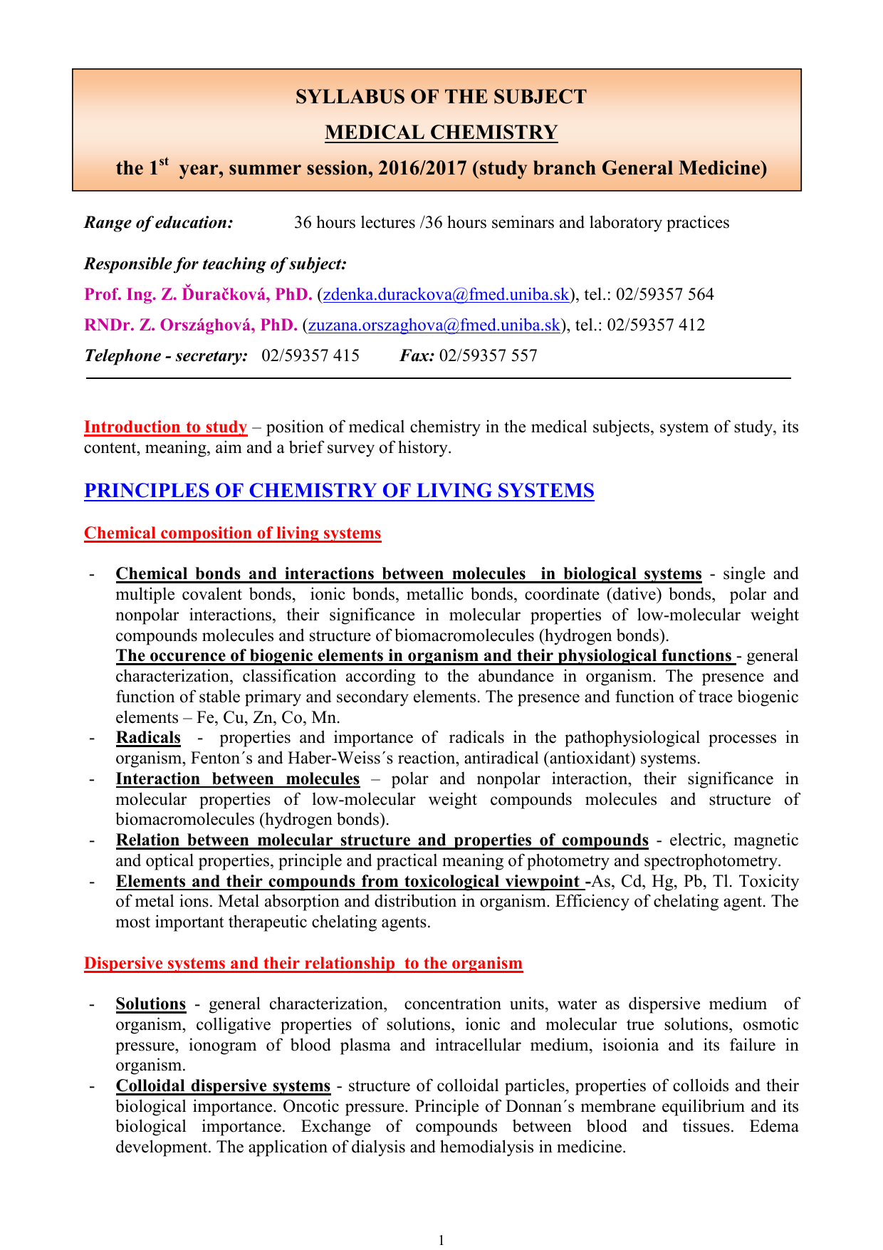 SYLLABUS OF THE SUBJECT MEDICAL - FMED UK