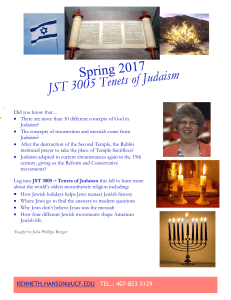 JST 3005: Tenets of Judaism
