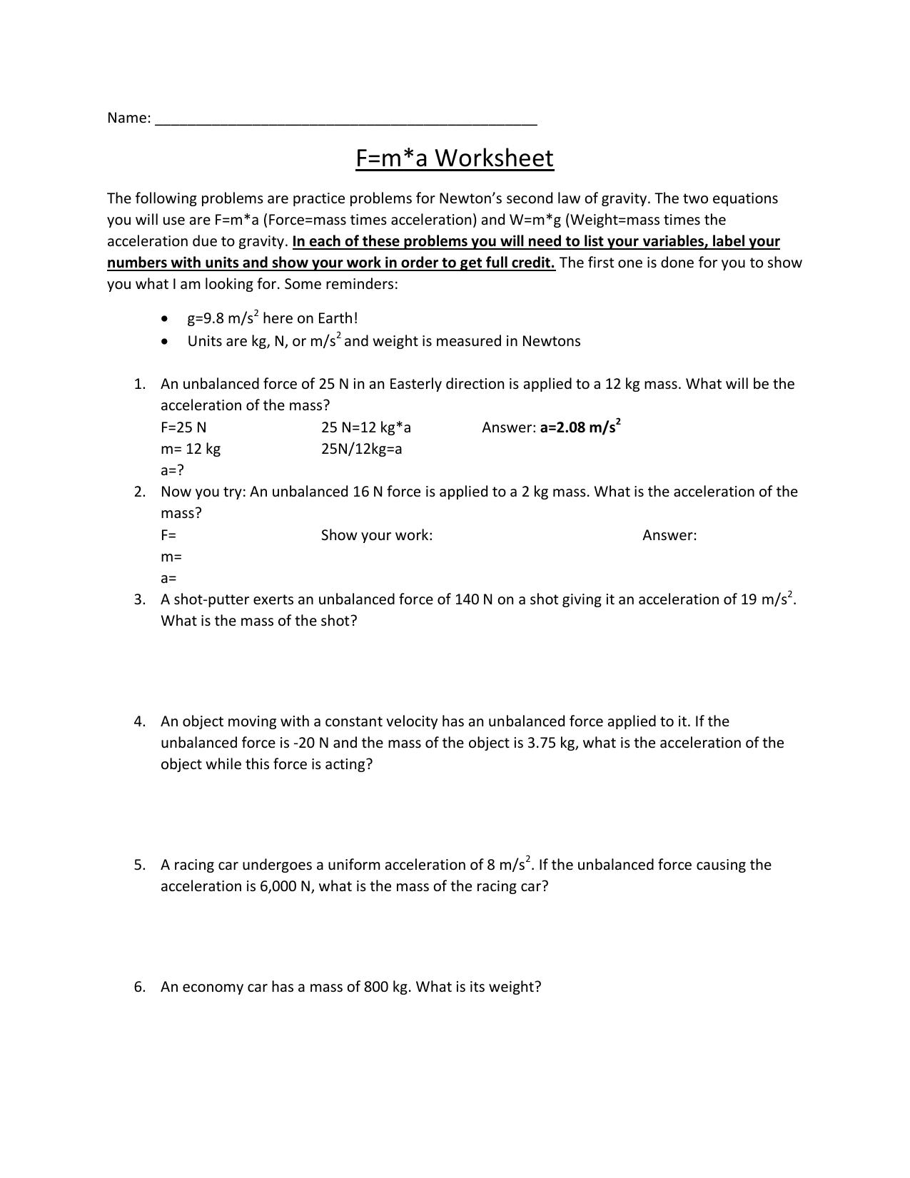 F=m*a Worksheet