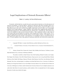 Legal Implications of Network Economic Effects