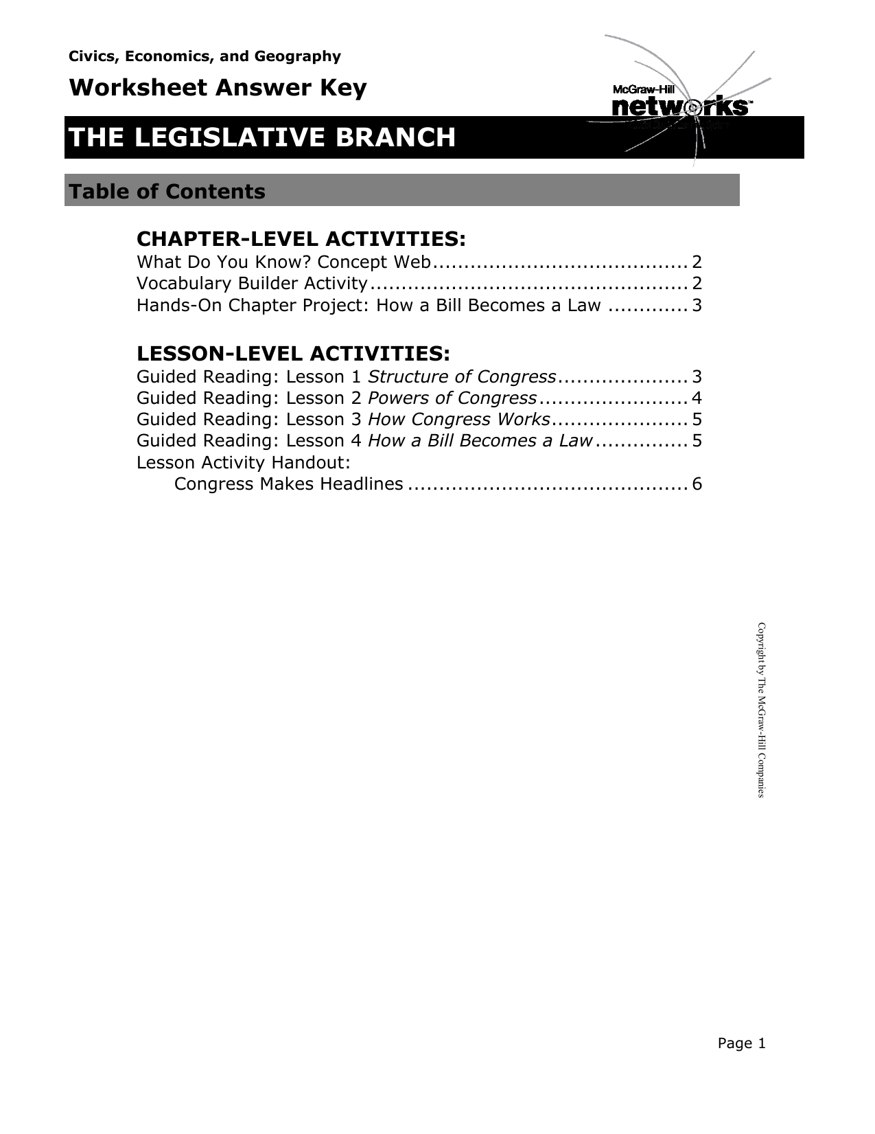 Worksheets The Mcgraw-hill Companies Worksheet Answers the legislative branch mcgraw