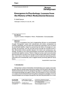 Emergence in Psychology - UNC