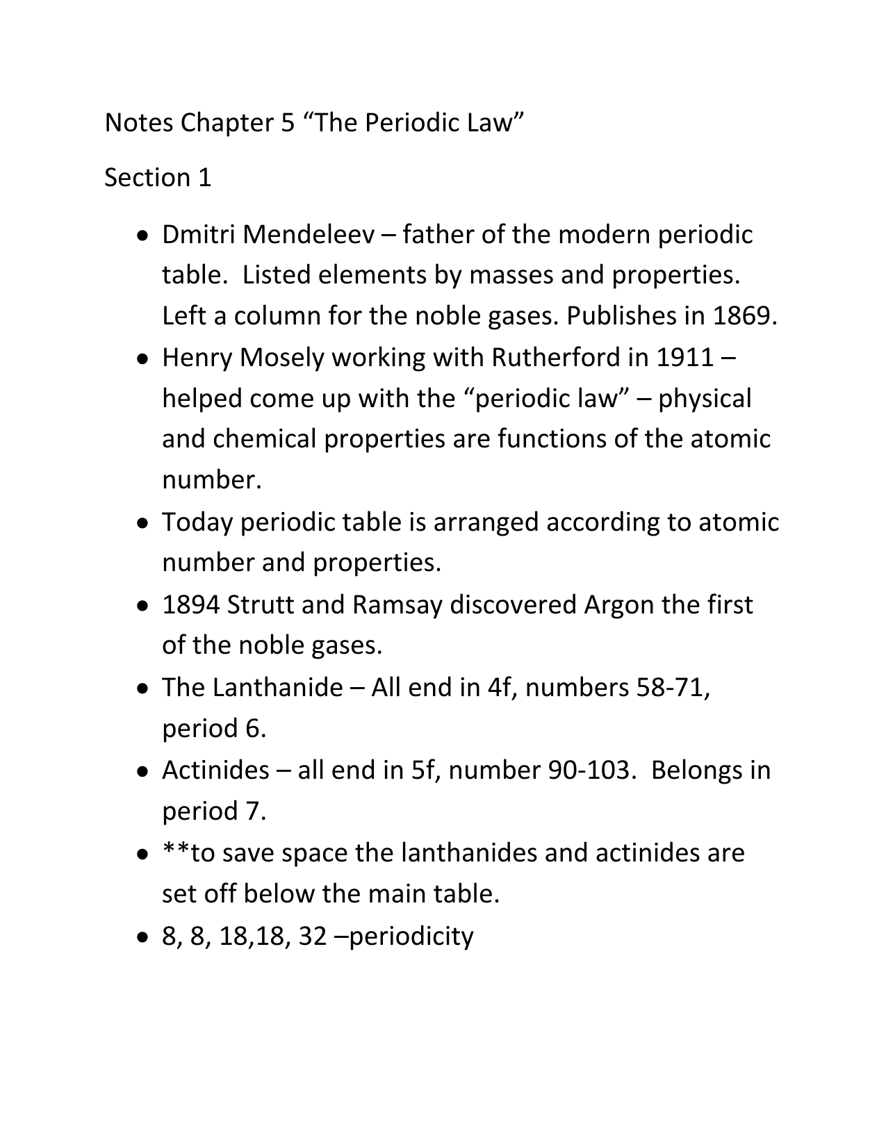 Notes chapter 5 the periodic law section 1 dmitri mendeleev gamestrikefo Images