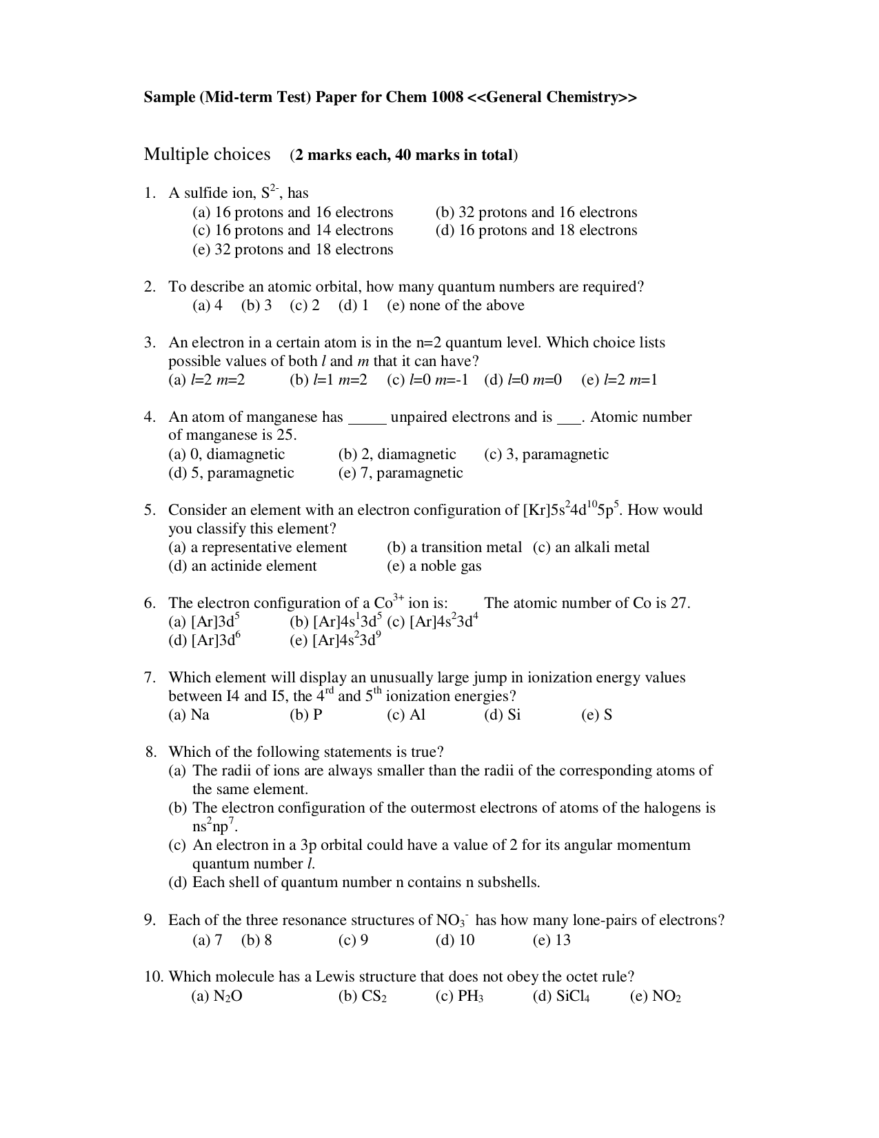 Sample mid term test paper for chem 1008 general chemistry pooptronica
