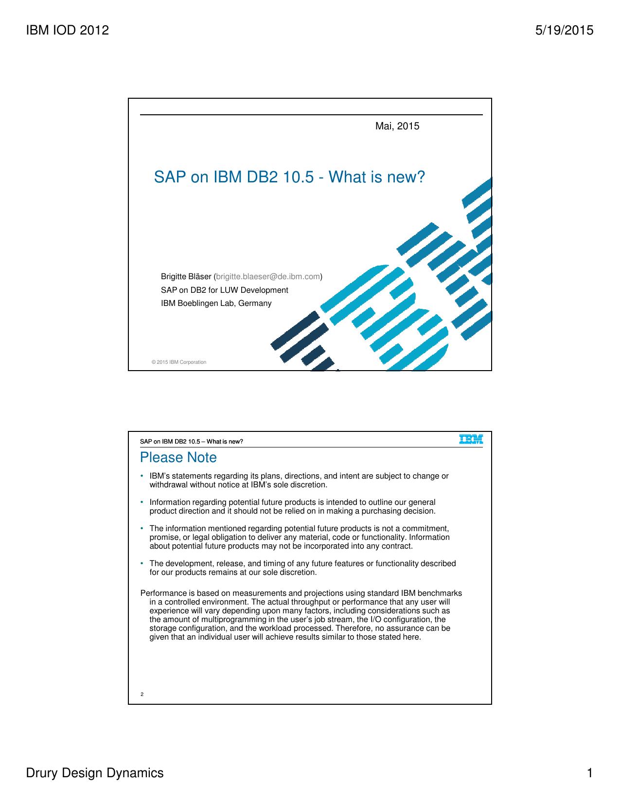 SAP on IBM DB2 10 5