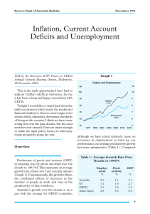 Inflation, Current Account Deficits and Unemployment