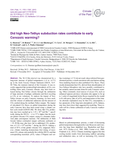 Did high Neo-Tethys subduction rates contribute to early Cenozoic