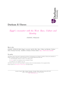 Egypt`s encounter with the West: Race, Culture - Durham e