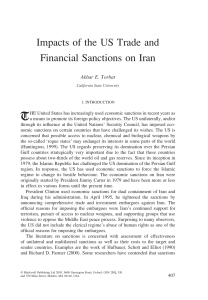Impacts of the US Trade and Financial Sanctions on Iran