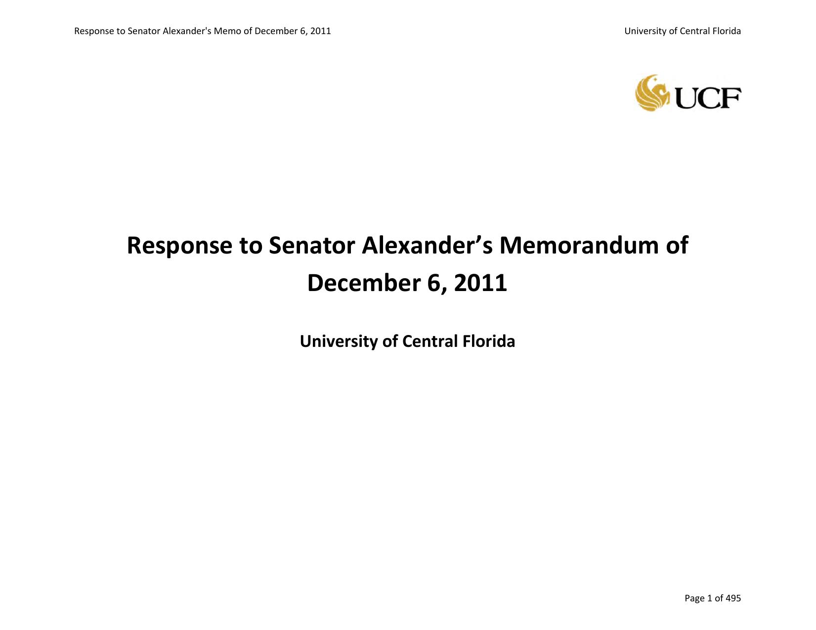 Response to Senator Alexander`s Memorandum of December 6 0bce8ae7a7e3