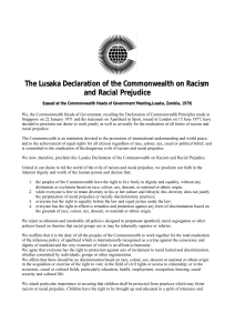 The Lusaka Declaration of the Commonwealth on Racism and R…