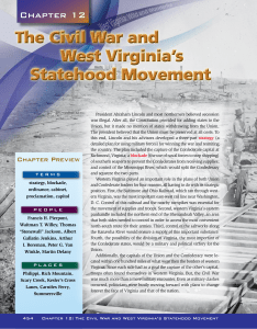 The Civil War and West Virginia`s Statehood Movement The Civil