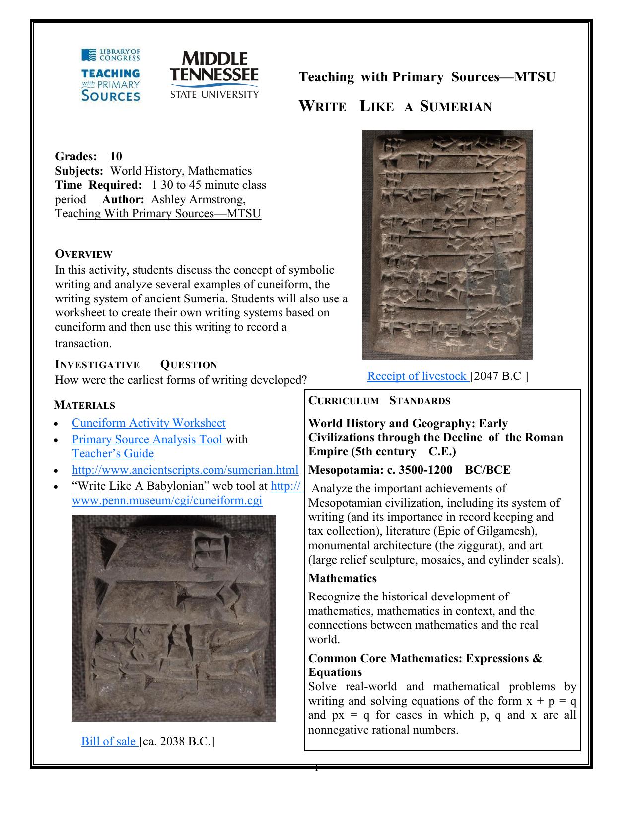 cuneiform examples