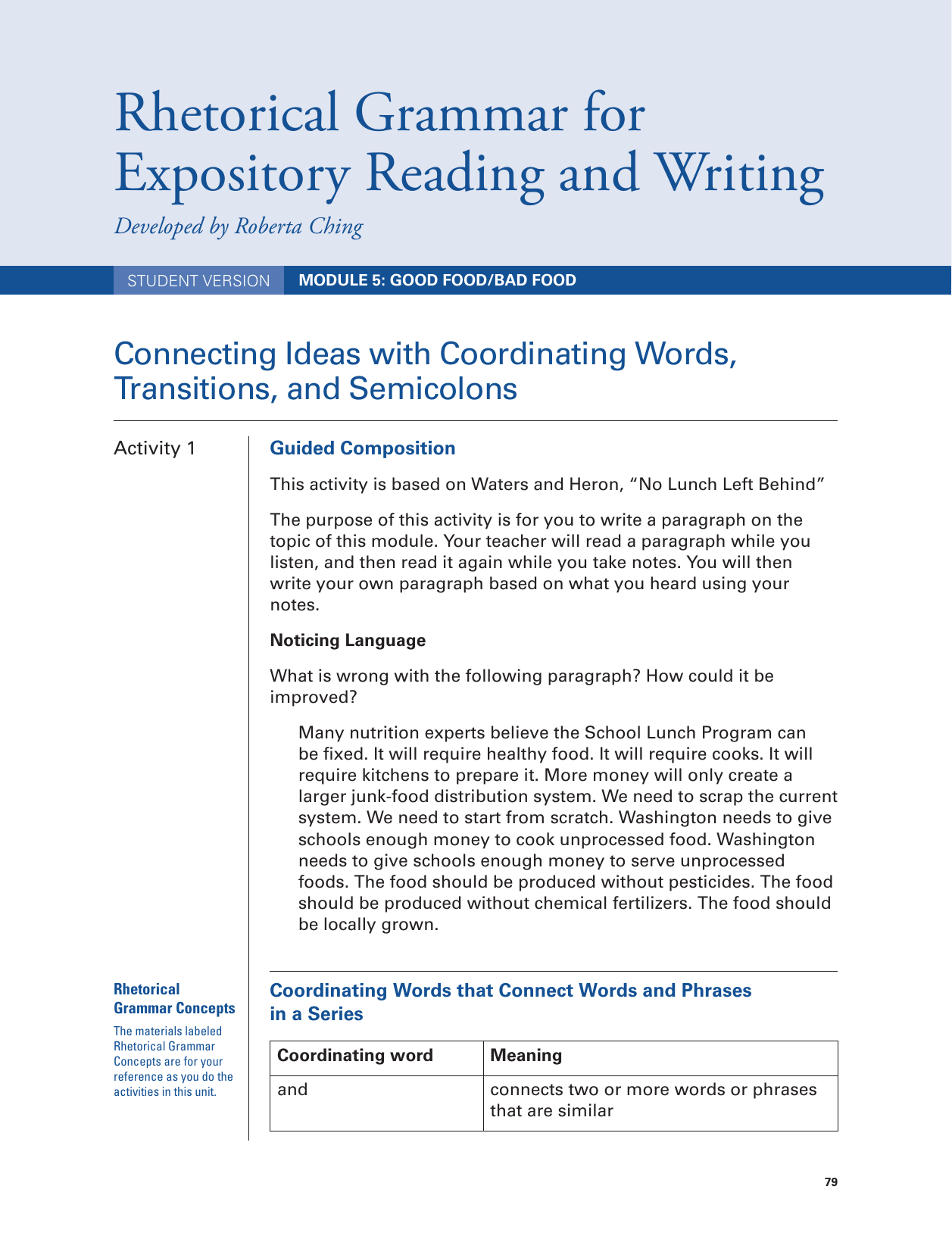 Rhetorical Grammar for Expository Reading and Writing
