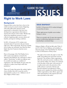 Right to Work Laws - Alabama Policy Institute