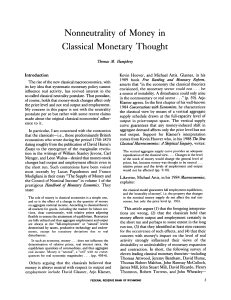 Nonneutrality of Money in Classical Monetary Thought