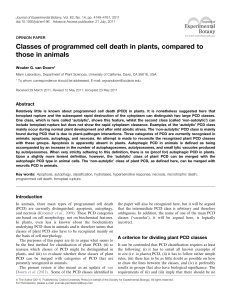 Classes of programmed cell death in plants